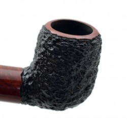 POZEN #102 briar billiard rustic black and red tobacco smoking pipe by Mr. Brog (Poland)
