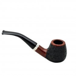 CONSUL no. 82 briar bent rustic black billiard pipe by Mr. Brog (Poland)