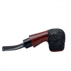 STANDUP no. 89 briar chubby bent rustic red and black billiard tobacco smoking pipe by Mr. Brog (Poland)