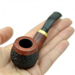 RUBEL #132 briar red and black rustic mini pipe
