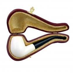 Bent billiard smooth meerschaum pipe