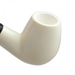 Bent billiard smooth meerschaum pipe