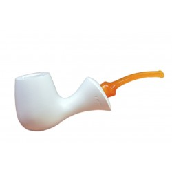 MARA (bianca 1621) lime wood meerschaum lined bent pipe with yellow mouthpiece by Brebbia (Italy)