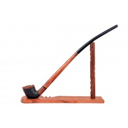 Pear wood extra long orange - black with carved bowl churchwarden tobacco smoking pipe with stand from Golden Pipe (Poland)