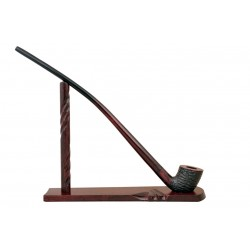 Pear wood extra long red - black with rustic bowl churchwarden tobacco smoking pipe with stand from Golden Pipe (Poland)