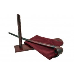 Pear wood extra long dark red - black with rustic part churchwarden tobacco smoking pipe with stand from Golden Pipe (Poland)