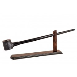 No85 Pear wood extra long dark with rustic part churchwarden tobacco smoking pipe with stand from Golden Pipe (Poland)