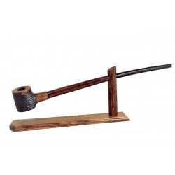 No85 Pear wood extra long brown black with rustic bowl churchwarden tobacco smoking pipe with stand from Golden Pipe (Poland)