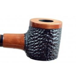 No85 Pear wood extra long orange black with rustic bowl churchwarden tobacco smoking pipe with stand from Golden Pipe (Poland)