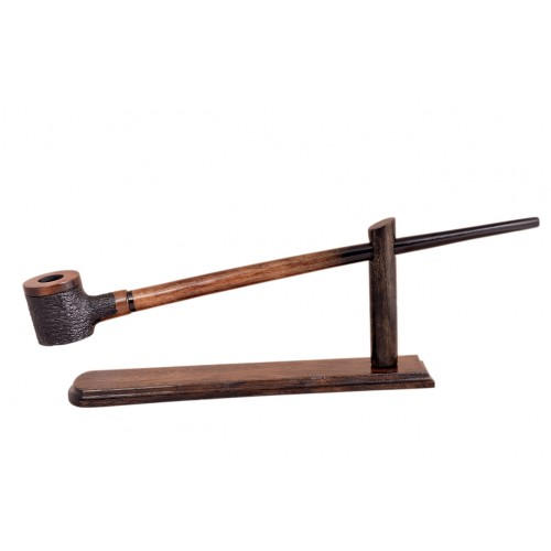 No85 Pear wood extra long brown black with rustic bowl churchwarden tobacco smoking pipe with stand from Golden Pipe (Poland) 02