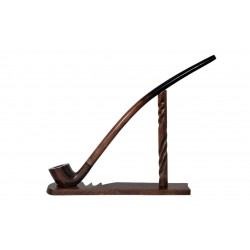 Pear wood extra long brown churchwarden tobacco smoking pipe with stand from Golden Pipe (Poland)