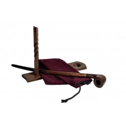 #81 Pear wood extra long brown churchwarden tobacco smoking pipe with stand from Golden Pipe (Poland)