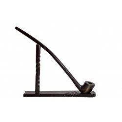 #81 Pear wood extra long dark churchwarden tobacco smoking pipe with stand from Golden Pipe (Poland)