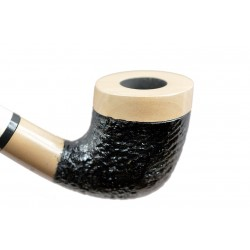 Pear wood extra long beige-black with rustic bowl churchwarden pipe with stand from Golden Pipe (Poland)