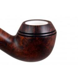 ORANGE Briar bent bulldog dark brown meerschaum lined tobacco smoking pipe from Gasparini (Italy) 05